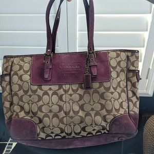 Coach tote bag - sangria suede and tan canvas